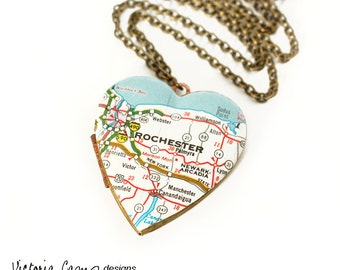 Rochester New York Map Necklace, Large Vintage Heart Locket, Map Jewelry, Map Necklace, Brass Locket