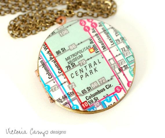 New York City Transit Map Necklace, Central Park, Vintage Locket, Brass Chain - Ready to Ship