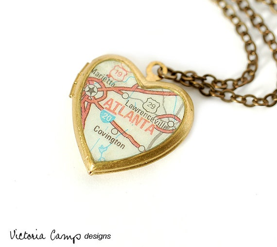 Atlanta Map Necklace, Vintage Brass Heart Locket - Ready to Ship - Gift under 40