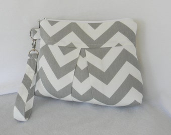 Gray Chevron Pleated Wristlet Clutch for Bridesmaids with detachable strap