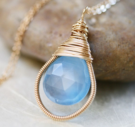 Chalcedony Necklace -  Blue Chalcedony - Blue Stone Necklace - Wire Wrapped Neckalce