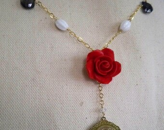 Therese Rose Red and gold necklace with vintage Saint Therese medal