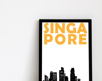 Singapore Print // Singapore Skyline // Singapore Art // Singapore Poster // Best Friend Gift // Brother Gift // Sister Gift