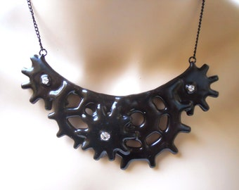 Gothic Steampunk necklace Cog and Gear Steampunk Noir Victorian inspired Distressed necklace Black with Crystals- Tempus Fugit
