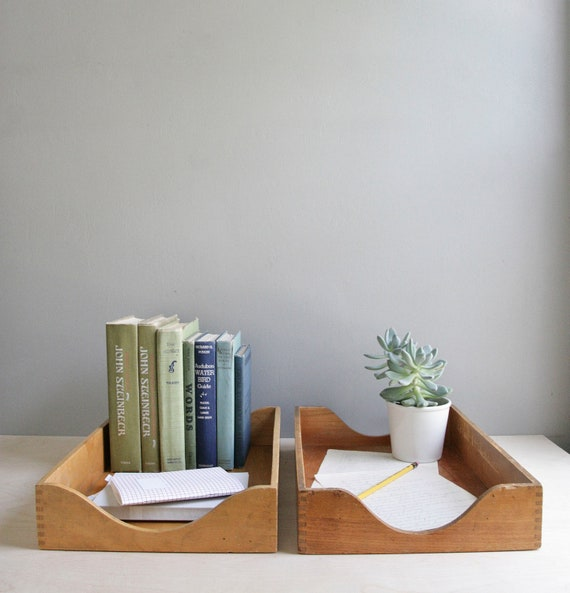wood desk trays / set of two / legal size