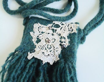 Lace and Fringe Felted Wool Purse