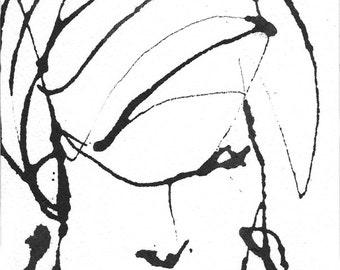 Pen and Ink  Sketch Drawing Portrait Woman Face Black and White PRINT