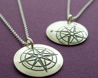Compass Necklace - Compass Rose Pendant in Sterling Silver - Custom Design by Eclectic Wendy Designs - Inspirational Gift