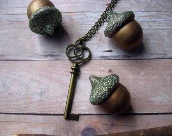 Key Pendant  Antiqued Brass Jumbo Key Minimal Necklace  Vintage Style  Stocking Stuffer  under 15