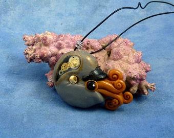 Steampunk Nautilus Necklace, Polymer Clay Neo-Victorian Cephalopod Jewelry