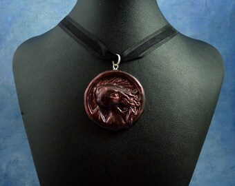 Dark Red Cthulhu Cameo Necklace, Handmade Polymer Clay Jewelry