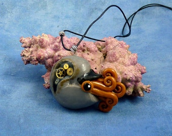 Steampunk Nautilus Necklace, Handmade Polymer Clay Jewelry