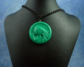 Jade Cthulhu Cameo Necklace with Chain, Polymer Clay Lovecraft Jewelry