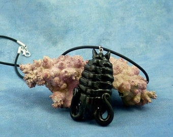 Black Trilobite Necklace, Handmade Fossil Inspired Jewelry