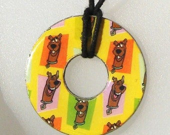 Scooby Doo Collage Upcycled Washer Pendant Necklace Cartoon Mystery Machine Shaggy