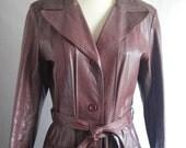Vintage Burgundy Leather Trench Coat Oxblood Marsala Long  size S M