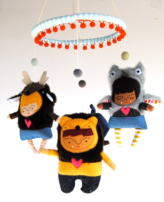 Animal Friendly Friends Mobile for your Modern Nursery Made to Order