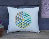 Isometric Orb Pillow- Cream and Dark Denim with Lime, Teal, Orange and Yellow