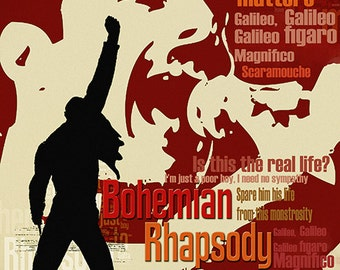 Print Freddie Mercury Queen music poster  Birthday Gift art Bohemian Rhapsody poster Queen illustration print canvas giclee