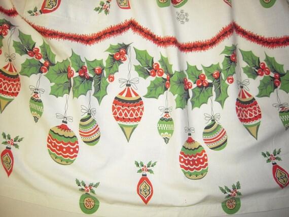 On Sale Vintage Christmas Apron Festive Shiny Brite Ornaments