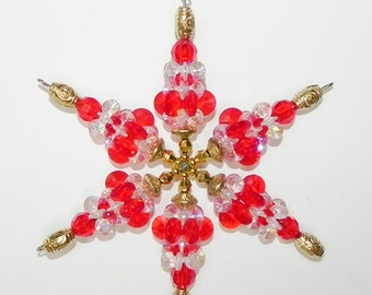 Beaded Snowflake Red and Clear Acrylic and Brass Gold Beads for YOUR TEAM or for Christmas indoors or out     MBM-31