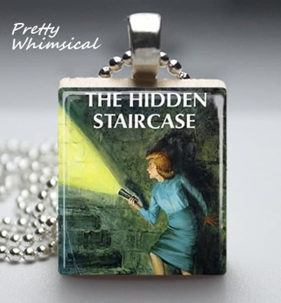 NANCY DREW Jewelry, Hidden Staircase Necklace, Scrabble Tile Pendant