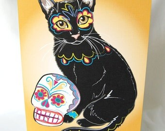 Muertos Black Cat Greeting Card
