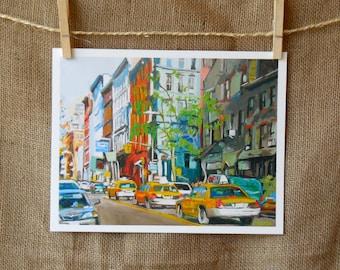 New York Art Westside Taxi Cabs Fine Art Print Cityscape Painting mint green Manhattan Painting New York City Urban Painting  Gwen Meyerson