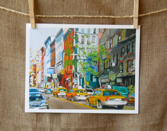 New York Art West Side Cabs Fine Art Print Cityscape Painting mint green New York City Urban Painting by Gwen Meyerson
