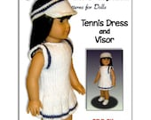 Tennis Dress knitting pattern, for American Girl and 18 inch doll 024
