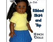 18 inch doll knitting pattern. Fits American Girl Doll. Ribbed Skirt and Top, AG, 046
