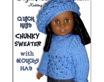 "Knitting Pattern, Doll Sweater and Slouchy Hat. Fits American Girl, 18"" inch. Instant Download 043"