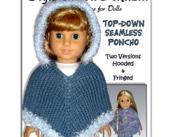 Knitting Pattern fits 18 inch dolls/American Girl Doll. Poncho PDF, Our Generation 015