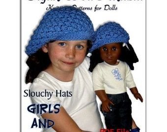 Knitting pattern. Slouchy Hat (Beret)  Matching Girls and American Girl, 18 inch doll. Instant Download