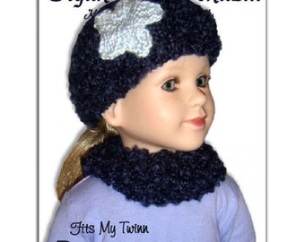 PDF Knitting Pattern, Beanie Hat and Cowl Neck Warmer, My Twinn. 23 inch doll 1602