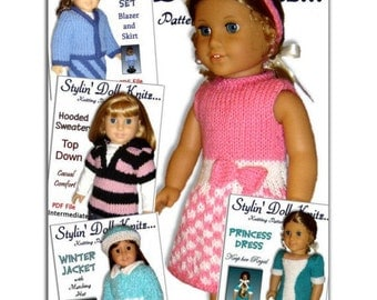 Knitting Patterns fits American Girl and 18 inch dolls. Knit Clothes Instant Download 08