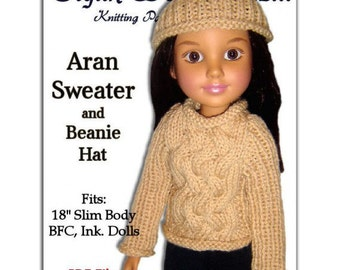 Knitting Pattern. Fits BFC, Ink  Aran Sweater and Beanie Hat  PDF 709