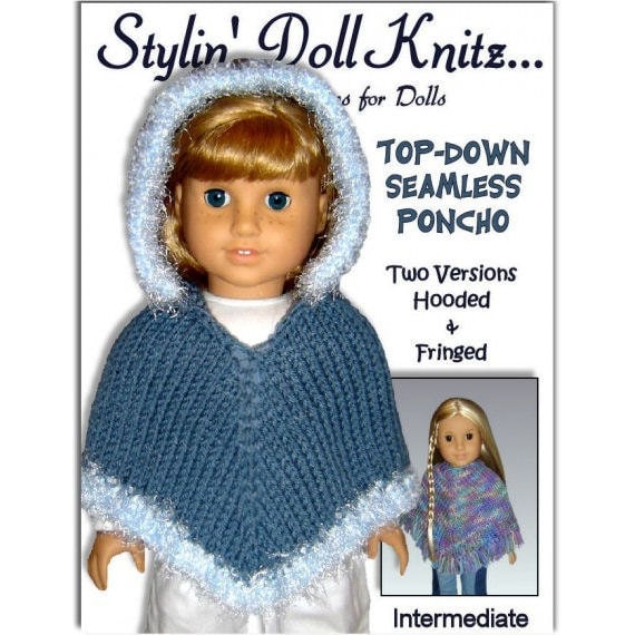Knitting Pattern For Dolls Poncho : Knitting Pattern fits 18 inch dolls/American Girl Doll. Poncho