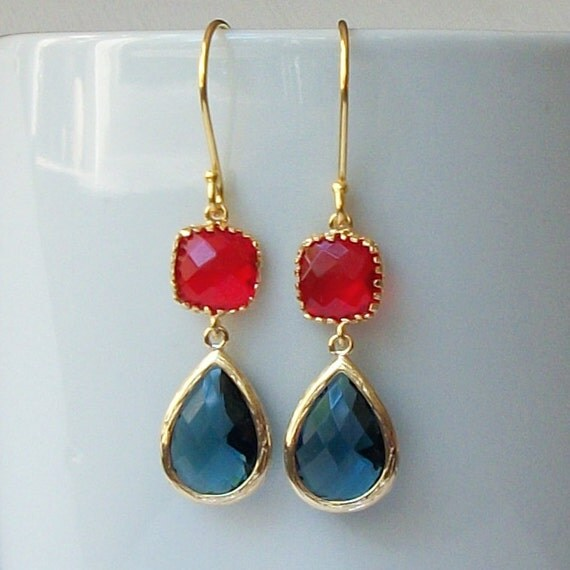 LAST ONE Red and Blue Crystal Drop Earrings