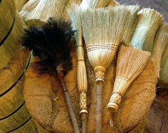 Spring Cleaning Broom & Duster Set in your choice of Natural, Black, Rust or Mixed Broomcorn - Kitchen Broom, Cobweb Besom, Whisk and Duster