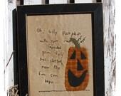 Primitive Wool Applique Pumpkin Pattern Embroidery Stitchery Silly Pumpkin