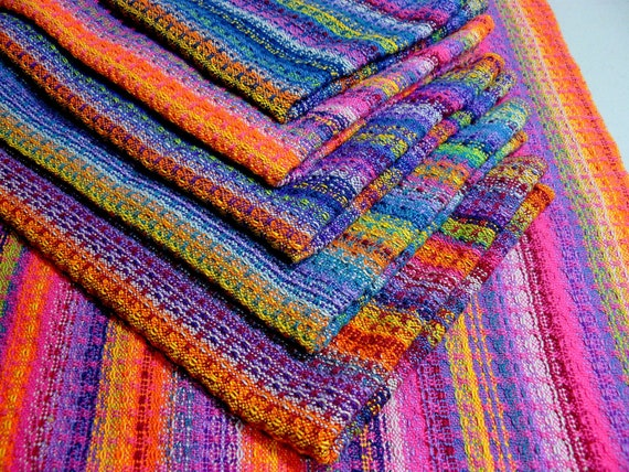 Handwoven Tea Towel Dishtowel - Rainbows