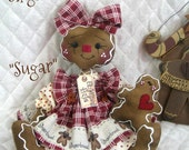 "Primitive Raggedy Gingerbread Doll ""SUGAR"" with baby in Burgandy"