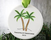 Personalized Christmas Ornament Our First Christmas Palm Tree Ornament Wedding Gift Beach Wedding Tropical Palm Trees  Item# PL090-C-O