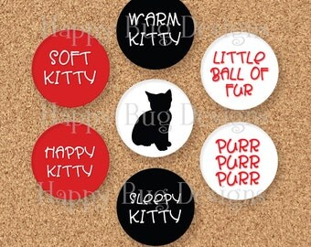 CLOSEOUT SALE Big Bang Theory Inspired Button Magnet Gift Set of 7 - Soft Kitty