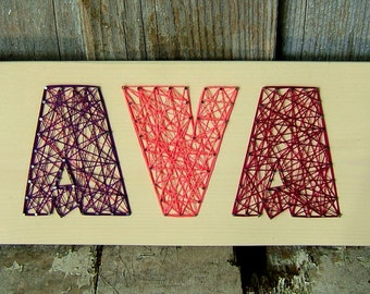 3 Letter Modern String Art Wooden Name Tablet - Made to Order