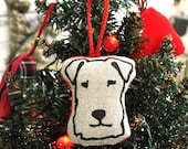 Terrier Head Christmas Decoration - Natural Linen