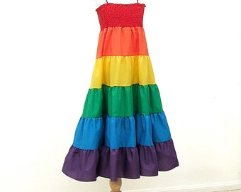 Rainbow Dress, Size Large, Size XL, fits Girls Size 10, 12, 14, 16