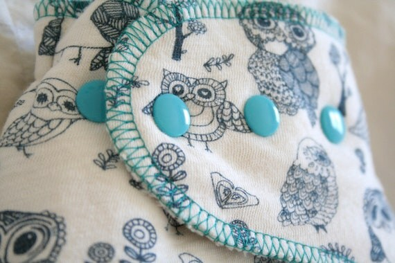 teal, blue and cream - owl cloth diaper - all organic OS one size diaper - fitted cloth nappy - MCN