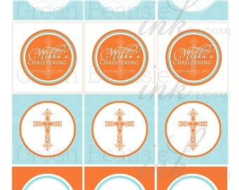 BAPTISM OR CHRISTENING Printable Cupcake Toppers - Orange and Turquoise